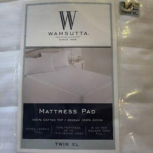 Wamsutta Dobby Stripe Twin XL Mattress Pad in White Hypoallergenic Fill
