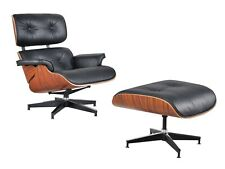 Eames Replica Lounge Chair - Genuine Black Leather