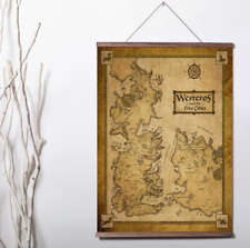 Game Of Thrones Houses Map Westeros And Free Cities Canvas poster wood scroll