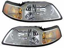 1999 - 2004 FORD MUSTANG (CHROME) HEADLIGHTS HEADLAMPS LIGHTS LAMPS PAIR
