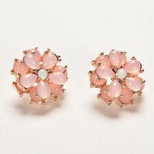 Lovely Resin Round Flower Stud Earrings Vintage Crystal Flower Earings To IU