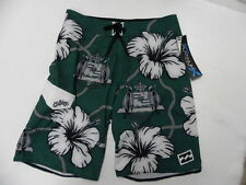 Billabong Boardshorts Platinum Stretch Sz 32 Green Floral 21'' Zero Gravity