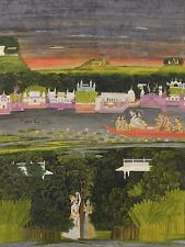 KRISHNA & RADHA BOAT OF LOVE Hindu Fine Art Repro Rolled CANVAS PRINT 24x31 in.