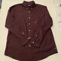 Chaps Mens Size Large Black & Red Checkered Long Sleeve Button Down Shirt NEW