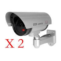 2Pc White Fake Dummy Security CCTV Camera Waterproof IR LED Outdoor Surveillance