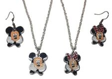 Mickey Mouse and Minnie Mouse Pendant Necklace And Earring Set