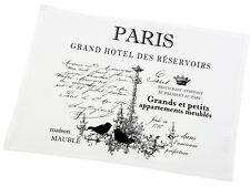 """Platzdeckchen, Untersetzer, Tischset, weiß,Landhaus,Baumwolle,Aufschrift """"Paris"""""""