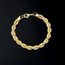 "5MM LARGE 9.5"" 18K GOLD plated Mens Rope Bracelet chain  Gift Son Dad"