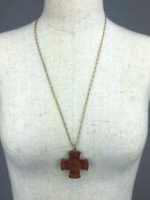Vintage Wooden Cross Necklace Gorgeous Hook Clasp