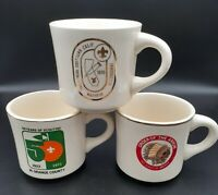 Vintage Boy Scouts of America BSA Ceramic Coffee Mug Cup Set of 3 Scouting