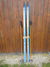 """VINTAGE Wooden 73"""" Skis Has BLUE Finish Signed TOURING ACTRA + Bamboo Poles"""