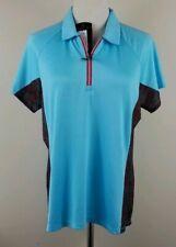 ANTIGUA Golf Polo Shirt, Womens Size L, Multi, Short Sleeves, Stretch, Zip, NEW