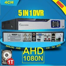 5in1 4Ch AHD Hybrid CCTV DVR 1080P NVR System for IP/AHD/TVI/Analog Camera +1TB