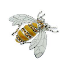 Bee Brooch Bumble Honey Bee Pin Brooch + Rhinestones Vintage Design