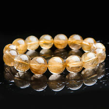 Natural Gold Rutilated Quartz Crystal Beads Wealth Man Bracelet 15mm AAAA