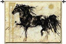 53x45 LEPA ZENA Black Horse Fine Art Tapestry Wall Hanging