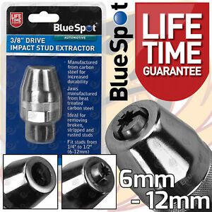 """Impact Stud Extractor Bolt Remover Removes Studs Stripped Bolts 6mm-12mm 3/8"""" Dr"""