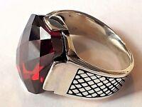 Solid 925 Sterling Silver Mens Ring Red Garnet Gemstone HandMade Turkish Style