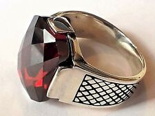 Turkish Ottoman Red Garnet Gemstone 925 Sterling Silver Mens Ring Gemstone