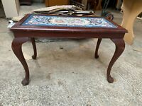 Vintage Antique Queen Anne Style Coffee Table Shaped Legs Blue Floral Fabric Top