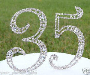 "5"" Crystal Rhinestone Number 35 Silver Cake Topper Top 35th Birthday Party"