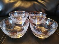LIBBEY GLASS (4) Dessert Bowls~GOLD RIBBONS/FROSTED ROSES/GOLD RIMS~Vintage