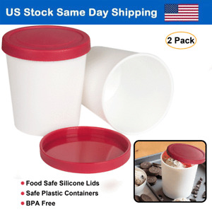 Ice Cream Containers 1 Quart Freezer Container Reusable Storage Tubs w/ Lids Red
