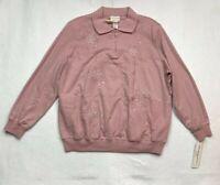 Alfred Dunner Womens Sweatshirt Pink Floral Long Sleeve Zip Collar Plus 3X New