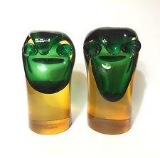 Very Rare Archimede Seguso Sommerso Murano Glass Owl Bookends, 1960s Flavio Poli