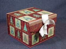 "New Wendy Bentley 7 x 7 x 4.75"" Cardboard Box With Christmas Trees Design"