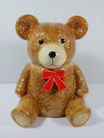 Teddy Bear Cookie Jar Otagiri Vintage Golden Brown Glazed Ceramic Hand Crafted