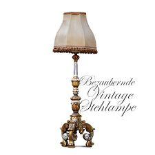 Tolle Stehlampe Antikstil gold weiß gefasst Holz reich beschnitzt Klassizismus