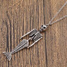 Halloween Gothic Horror Skeleton Mermaid Pendant Necklace Unisex Jewelry Gift