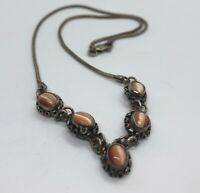 """Vintage Sterling Silver Necklace 925 Cats Eye Signed 17"""""""
