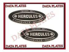 2X NEW HERCULES BODY BUILDERS ETCHED ALUMINUM DATA PLATE EVANSVILLE INDIANA