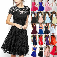 Womens Lace Skater Dress Cocktail Formal Party Evening Pleated Swing Sundress AU