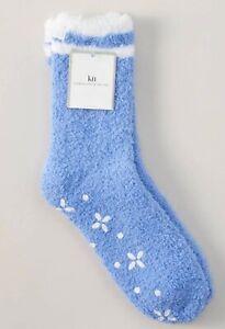 KN Karen Neuburger Periwinkle Cozy Slipper Socks With Non-Slip Grippers