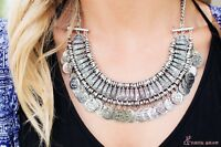 UK Antiqued Fashion Silver Coins Statement Bib Chunky Choker Necklace Pendant
