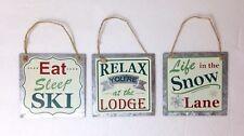 "3pc Set METAL SKI THEME ORNAMENTS Skiing Lodge Winter Snow Christmas ""Chalk"" Art"