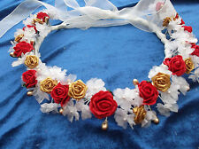 Ivory and Red/Gold  Flower Circlet - Wedding Halo, Flower Girl - by Valerie J