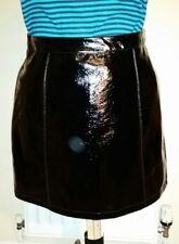 NEWLOOK GLOSSY Black Faux LEATHER PU Mini SKIRT L uk16us12eu42 Waist w35in w89cm