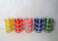 5 verres Vintage décor soleil