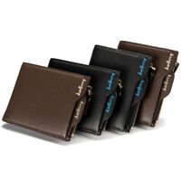 Fashion Mens Short Zipper Wallet Leather Bifold ID Credit Card Holder Coin Purse