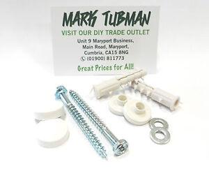 Quality Toilet Pan Fixing Kit Set,( screw, washer, white /chrome caps) Free P&P