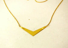 "14K Solid Yellow Gold Necklace with V Plate 17"" Very Pretty Made In Italy."