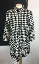 Atmosphere Primark Black White Houndstooth Pattern Car Coat Size 8 Wool Blend