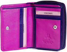 VISCONTI SMALL SOFT REAL LEATHER ZIP AROUND BERRY MULTI PURSE - RB53