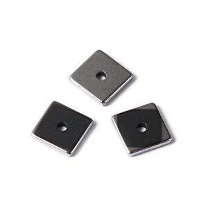 50PC Electroplate Non-magnetic Hematite Stone Beads Flat Square Loose Spacer 6mm