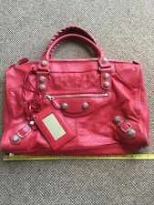 Authentic Balenciaga Giant Silver Hardware Red Weekend Bag