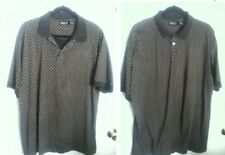 VTG CLAIBORNE Men Polo Shirt Mercerized Cotton Black Tan Design Knit Collar L
